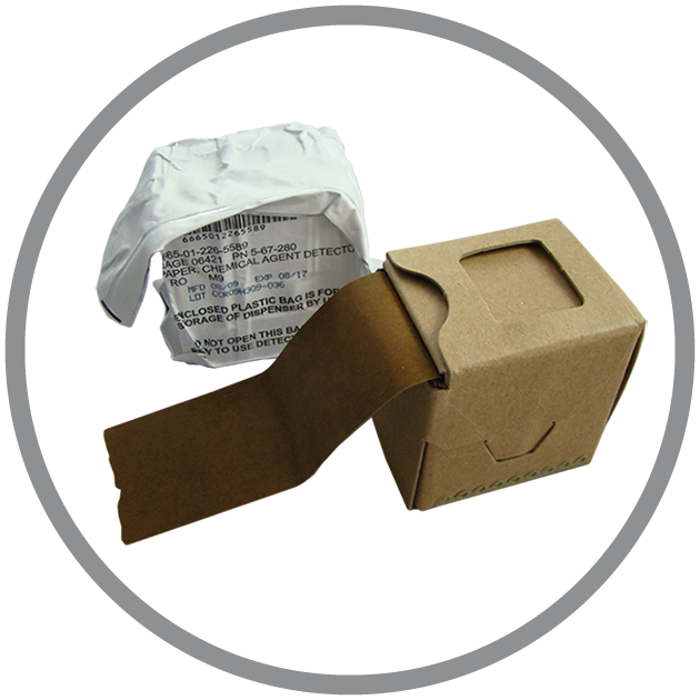M9 Chemical Detection Paper is a coat tape, changing colour when in the presence of liquid agents